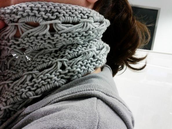 cuello lana punto caracol