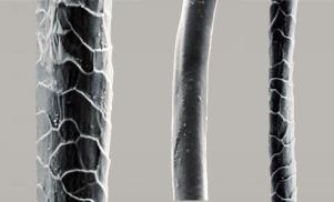 De izq. a der. fibras de lana tradicional, sintética y merina