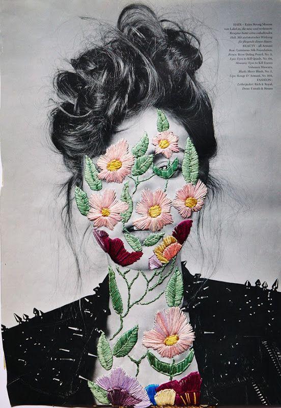 Cara de mujer bordada